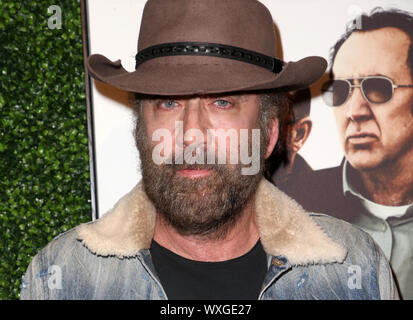 Beverly Hills, Ca. 16th Sep, 2019. Nicolas Cage, at Premiere Of Quiver Distribution's 'Running With The Devil at Writers Guild Theater in Beverly Hills, California on September 16, 2019. Credit: Faye Sadou/Media Punch/Alamy Live News - Stock Photo