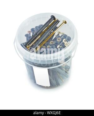 Bucket of screws label - Stock Photo