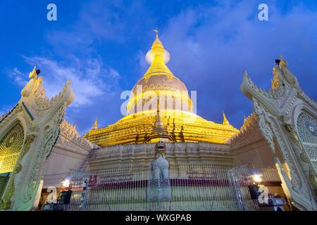 Maha Wizaya Pagoda at Dusk - Yangon, Myanmar / Burma - Stock Photo