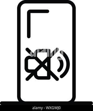 Crossed speaker smartphone icon. Outline crossed speaker smartphone vector icon for web design isolated on white background - Stock Photo