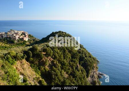 Corniglia and his coast. Cinque Terre. Liguria. Italy - Stock Photo