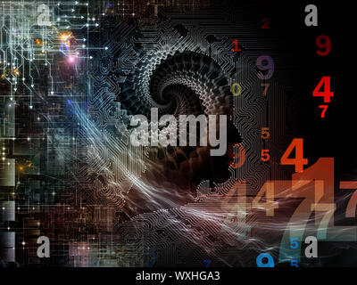 Composition of circuit board texture, human profile and technological elements on the subject of technology, computers and artificial intelligence - Stock Photo