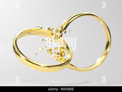 Broken Gold wedding ring divorce symbol on light grey background with soft focus (3d render) - Stock Photo