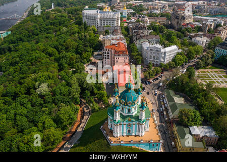 Aerial top view of Saint Andrew's church from above - Stock Photo