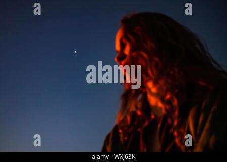 Portrait of a woman in moonlight, Stellenbosch, Western Cape, South Africa
