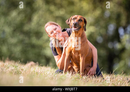 Rhodesian Ridgeback. Woman and a adult dog sitting on a meadow. Germany - Stock Photo