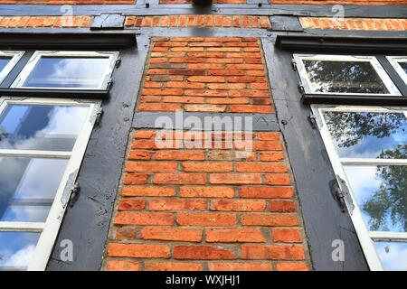 Detailed view of weathered half-timbering brick wall textures found in northern germany - Stock Photo