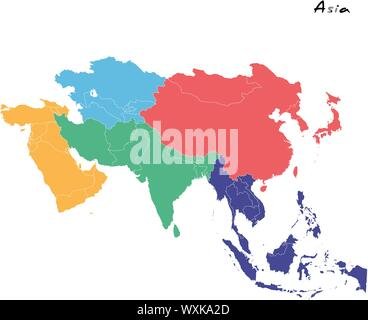 High quality map of Asia with borders of the regions Stock ...