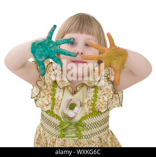 Little girl with multicolored palm on the white - Stock Photo