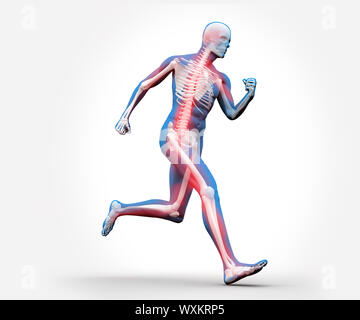 Blue and red digital skeleton running against a white background - Stock Photo
