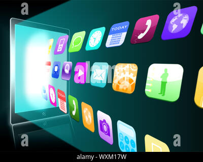 Holographic applications coming out from a tablet pc on black background - Stock Photo