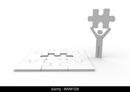 White human figure holding jigsaw piece next to unfinished puzzle on white background - Stock Photo