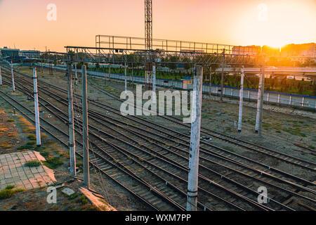 A lot of railway tracks on sunset - Stock Photo