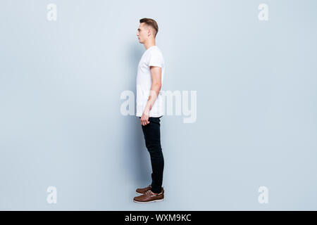Full length body size, profile side view of stylish handsome tre - Stock Photo