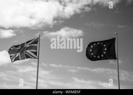 British and EU flags, Wimmereux, France September 2019 - Stock Photo