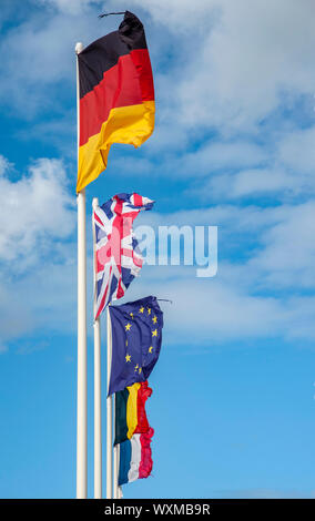 EU and European flags - Stock Photo