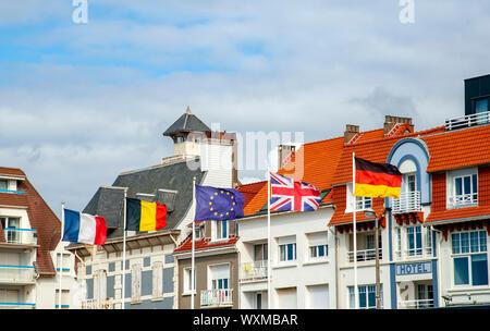 European and EU flags, Wimereux, France