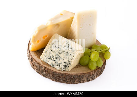 Different types of cheeses and green grapes isolated on white background - Stock Photo