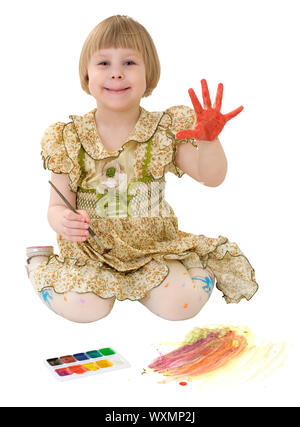 Little girl drawing of water-colore on the white - Stock Photo