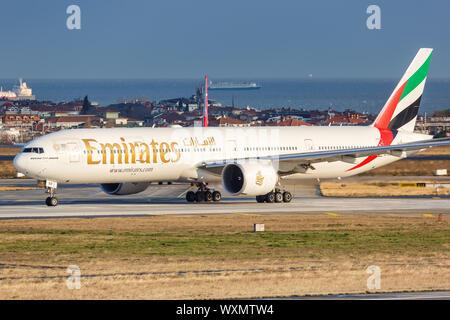 Istanbul, Turkey – February 15, 2019: Emirates Boeing 777-300ER airplane at Istanbul Ataturk airport (IST) in Turkey. - Stock Photo