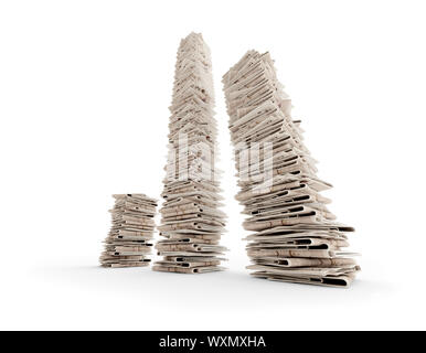 tree isolated newspaper towers (3D rendering) - Stock Photo