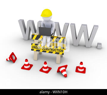 3d worker with laptop is sitting on an under construction sign in front of www letters - Stock Photo
