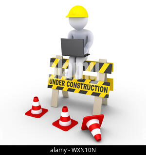 3d worker with laptop is sitting on an under construction sign - Stock Photo
