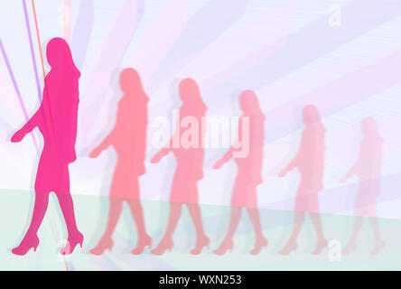 Woman career development. Silhouettes of business women in suits walking in front of abstract linear background Stock Photo