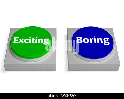 Exiting Boring Buttons Showing Excitement Or Boredom - Stock Photo