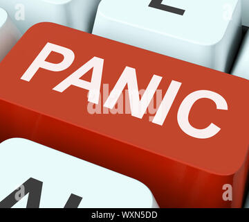 Panic Key Showing Panicky Terror Or Distress - Stock Photo