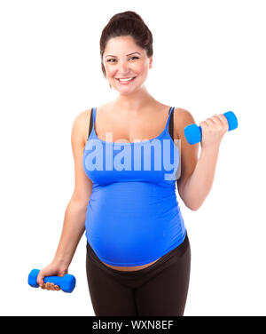 Happy pregnant woman do exercise, isolated on white background, lifting dumbbells, active lifestyle, healthy pregnancy concept - Stock Photo