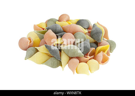 Raw colorful pasta, isolated on white background with clipping path included. - Stock Photo