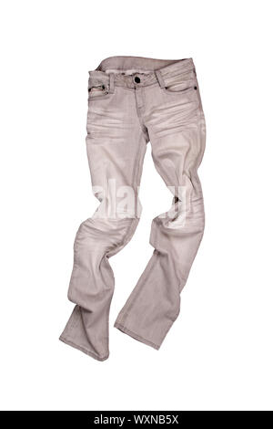 grey jeans isolated on the white background - Stock Photo