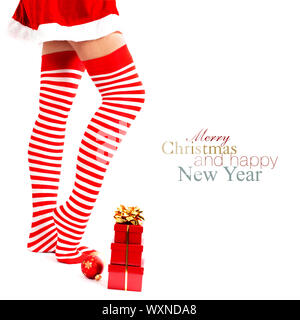 Woman wearing santa little helper costume. With easy removable sample text - Stock Photo