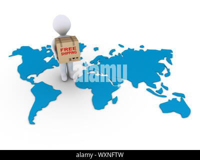 3d person holding a free shipment box on a world map - Stock Photo