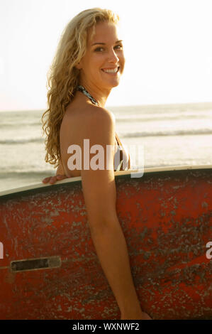 Smiling Blond Surfer - Stock Photo