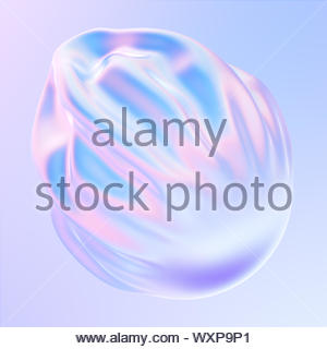 Abstract gradient fluid 3D shape. Pastel and holographic colors. Falling fabric with pleats. 3d illustration, 3d rendering. - Stock Photo