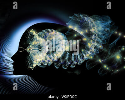 Design composed of girl profile, colorful fractal butterfly patterns and abstract lights on the subject of beauty, creativity and imagination - Stock Photo