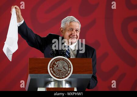 Mexico City, Mexico. 17th Sep, 2019. Mexican President Andres Manuel Lopez Obrador speaks during his morning press conference at the National Palace, in Mexico City, Mexico, 17 September 2019. LOpez Obrador reported that members of his Executive will review the case of the 43 missing students of Ayotzinapa, almost five years ago, along with the Judiciary and the Attorney General's Office (FGR). Credit: Jose Mendez/EFE/Alamy Live News - Stock Photo