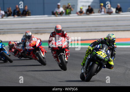 MOTOGP RACE. RIDERS: VALENTINO ROSSI VR 46, ANDREA DOVIZIOSO 04, JACK MILLER 43)  during Sunday Warm-up & Race Of The Motogp Of San Marino And Riviera - Stock Photo