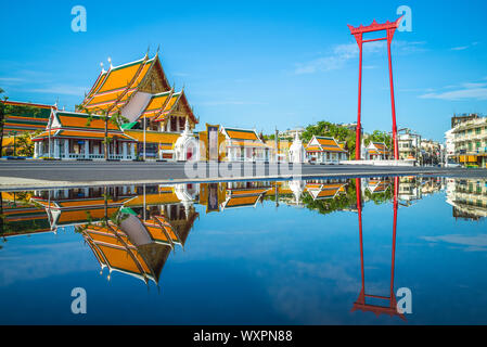 wat suthat and giant swing at bangkok, thailand - Stock Photo