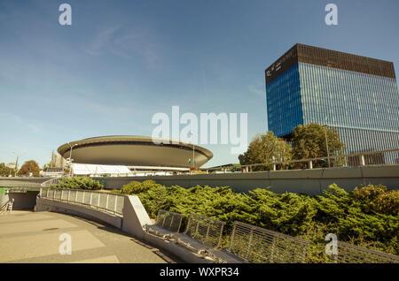 Katowice, Silesia, Poland; September 15, 2019:  Katowice roudabout with Spodek sports hall and KTW business park - Stock Photo