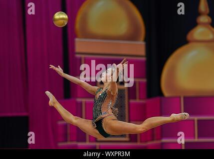 Baku, Azerbaijan. 17th Sep, 2019.  Adelina Beljajeva of Estonia during the 37th Rhythmic Gymnastics World Championships match between and Day 2 at the National Gymnastics Arena in Baku, Azerbaijan. Ulrik Pedersen/CSM. Credit: Cal Sport Media/Alamy Live News