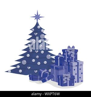 Decorated christmas tree and a pile of colorful gift boxes, isolated on white background, stock vector - Stock Photo