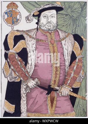 King Henry VIII of England, 1491 - 1547.  Engraving after a painting by Hans Holbein.  Later colourisation. - Stock Photo