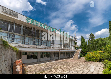 Livadia, Crimea - July 10. 2019. Sanatorium Livadia - facade of old building - Stock Photo