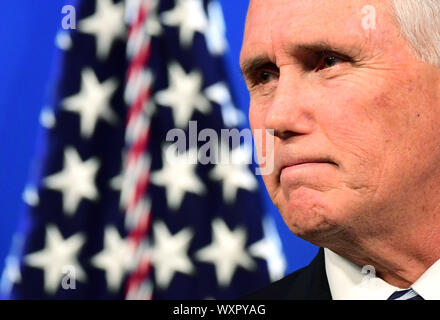 Washington DC, USA. 17th Sep 2019. Vice President Mike Pence delivers remarks on the US-Mexico-Canada trade agreement at the Heritage Foundation in Washington, DC on Tuesday, September 17, 2019. Photo by Kevin Dietsch/UPI Credit: UPI/Alamy Live News - Stock Photo