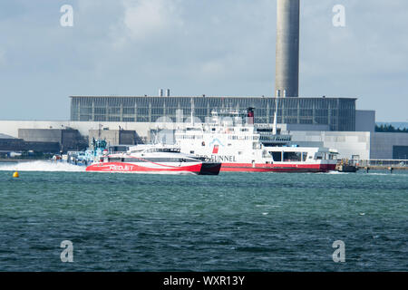 Red Funnel Car Ferry Southampton Water from Hamble towards Fawley - Stock Photo