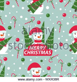 New Year seamless pattern with snowmen in a red hat and Christmas trees, vector illustration in a flat style - Stock Photo
