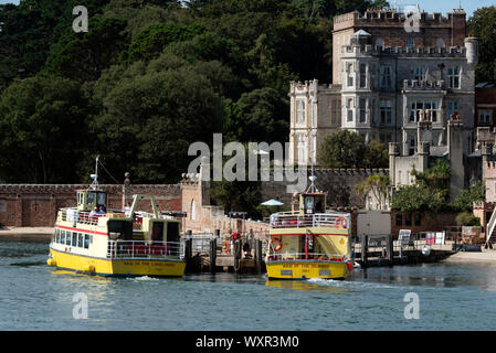 Brownsea Island, Poole Harbour, Dorset, England, UK. September 2019. Passenger ferries waiting  for tourists to return to the mainland. - Stock Photo